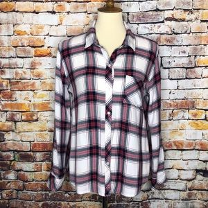 Rails Red & White Long Sleeve Plaid Button Up